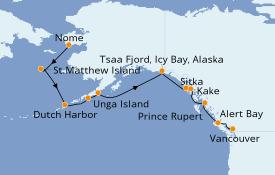 Itinéraire de la croisière Alaska 15 jours à bord du L'Austral