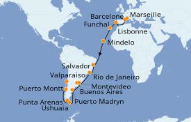 Itinéraire de la croisière Tour du Monde 2020 36 jours à bord du MSC Magnifica