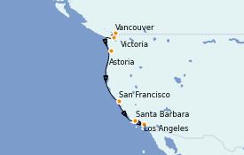 Itinéraire de la croisière Californie 8 jours à bord du Coral Princess