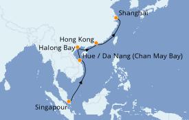 Itinéraire de la croisière Asie 13 jours à bord du Queen Elizabeth