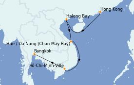 Itinéraire de la croisière Asie 12 jours à bord du Silver Shadow