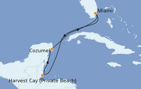 Itinéraire de la croisière Caraïbes de l'Ouest 6 jours à bord du Norwegian Joy