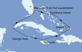 Itinerario de crucero Caribe del Oeste 8 días a bordo del Regal Princess