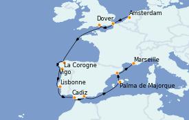 Itinéraire de la croisière Transatlantiques et Grands Voyages 2022 13 jours à bord du Costa Fortuna