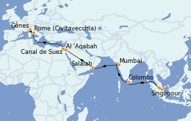 Itinéraire de la croisière Tour du Monde 2022 24 jours à bord du MSC Poesia