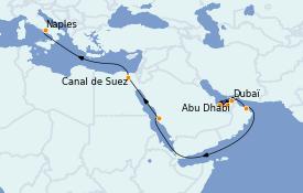 Itinéraire de la croisière Transatlantiques et Grands Voyages 2023 17 jours à bord du MSC World Europa