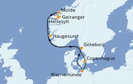 Itinéraire de la croisière Fjords & Norvège 8 jours à bord du Costa Fascinosa