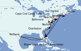 Itinéraire de la croisière Canada 12 jours à bord du Silver Wind