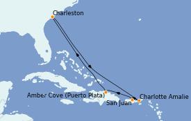 Itinéraire de la croisière Caraïbes de l'Est 9 jours à bord du Carnival Sunshine