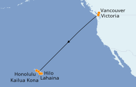 Itinéraire de la croisière Hawaii 11 jours à bord du Celebrity Eclipse