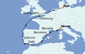 Itinerario de crucero Mediterráneo 14 días a bordo del MSC Seaview