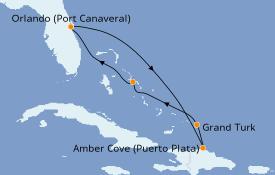 Itinéraire de la croisière Caraïbes de l'Est 7 jours à bord du Carnival Radiance