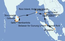 Itinéraire de la croisière Asie 17 jours à bord du Silver Explorer