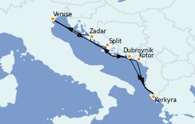 Itinéraire de la croisière Grèce & Adriatique 8 jours à bord du Silver Dawn