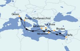 Itinéraire de la croisière Grèce & Adriatique 12 jours à bord du MSC Magnifica