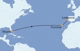 Itinéraire de la croisière Transatlantiques et Grands Voyages 2022 13 jours à bord du Azamara Quest