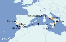 Itinéraire de la croisière Méditerranée 10 jours à bord du Carnival Pride