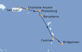 Itinéraire de la croisière Caraïbes de l'Est 6 jours à bord du Carnival Fascination