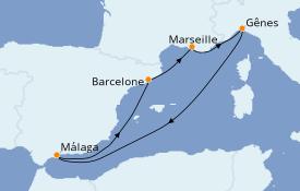 Itinéraire de la croisière Méditerranée 7 jours à bord du MSC Splendida
