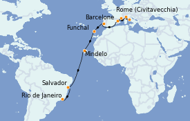 Itinéraire de la croisière Tour du Monde 2022 19 jours à bord du MSC Poesia