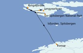 Itinéraire de la croisière Fjords & Norvège 11 jours à bord du Le Boréal