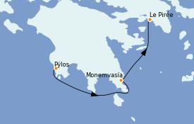 Itinéraire de la croisière Grèce & Adriatique 7 jours à bord du Star Flyer