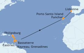Itinéraire de la croisière Caraïbes de l'Est 19 jours à bord du Seabourn Odyssey
