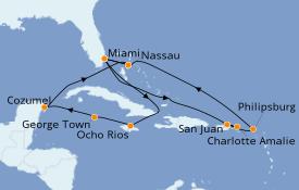 Itinéraire de la croisière Caraïbes de l'Est 15 jours à bord du MSC Seaside