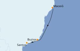 Itinéraire de la croisière Amérique du Sud 4 jours à bord du MSC Seaview