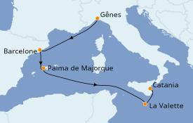 Itinéraire de la croisière Méditerranée 6 jours à bord du Costa Pacifica