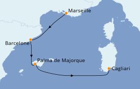 Itinéraire de la croisière Méditerranée 5 jours à bord du Costa Smeralda