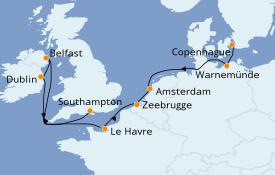 Itinéraire de la croisière Transatlantiques et Grands Voyages 2022 11 jours à bord du Norwegian Getaway