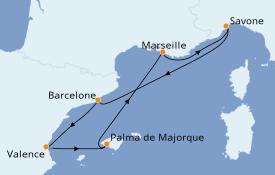 Itinéraire de la croisière Méditerranée 6 jours à bord du Costa Favolosa