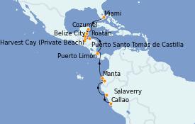 Itinerario de crucero Caribe del Oeste 19 días a bordo del MS Marina