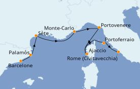 Itinéraire de la croisière Méditerranée 8 jours à bord du Seabourn Sojourn