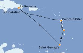 Itinéraire de la croisière Caraïbes de l'Est 8 jours à bord du Costa Fortuna
