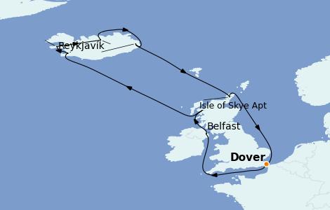 Itinéraire de la croisière Îles Britanniques 12 jours à bord du Carnival Pride