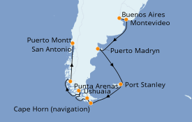 Itinéraire de la croisière Amérique du Sud 15 jours à bord du Sapphire Princess