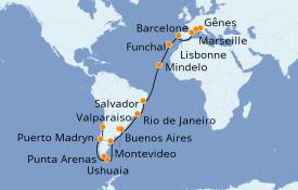 Itinéraire de la croisière Tour du Monde 2020 37 jours à bord du MSC Magnifica