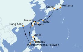 Itinéraire de la croisière Asie 15 jours à bord du ms Westerdam