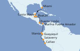 Itinéraire de la croisière Caraïbes de l'Ouest 15 jours à bord du Seven Seas Navigator