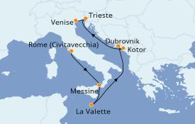 Itinéraire de la croisière Méditerranée 8 jours à bord du Celebrity Infinity