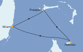 Itinéraire de la croisière Bahamas 5 jours à bord du Carnival Conquest