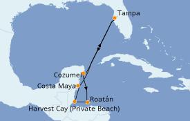Itinéraire de la croisière Caraïbes de l'Ouest 8 jours à bord du Norwegian Jade