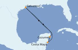 Itinéraire de la croisière Caraïbes de l'Ouest 6 jours à bord du Carnival Radiance