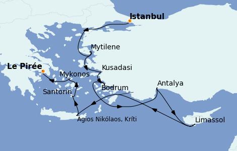 Itinéraire de la croisière Grèce & Adriatique 10 jours à bord du Nautica