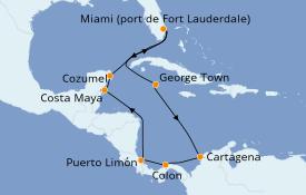 Itinéraire de la croisière Caraïbes de l'Ouest 12 jours à bord du Celebrity Reflection