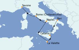 Itinéraire de la croisière Méditerranée 7 jours à bord du Costa Magica