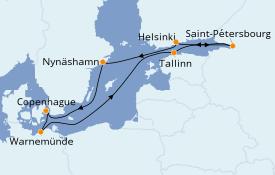 Itinéraire de la croisière Mer Baltique 10 jours à bord du Norwegian Getaway