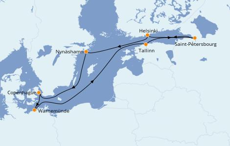Itinéraire de la croisière Mer Baltique 9 jours à bord du Norwegian Getaway